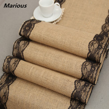 2017 Wholesale price lace hessian burlap jute table runner for wedding