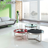 European style stainless steel metal frame glass top coffee table round tea table