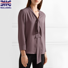 Woman 100% silk pussy-bow crepe de chine long sleeve V neck design silk blouse for ladies