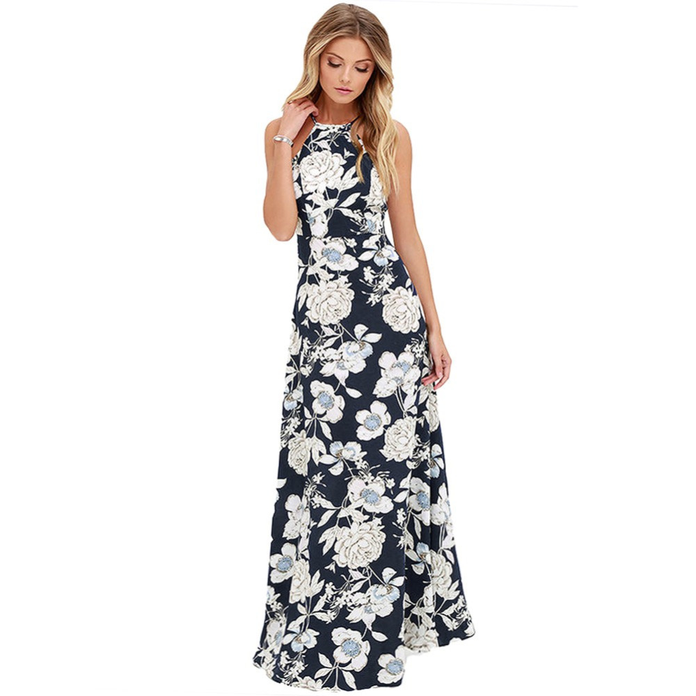 New Sexy Women Maxi Dress Halter Neck Floral Print Sleeveless Summer Beach Holiday Long Slip Dress Blue/Black
