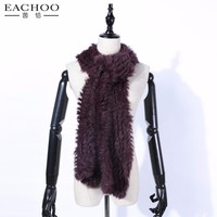 Ladies Wool Scarf With Real Rabbit Fur Shawl With Flower Design