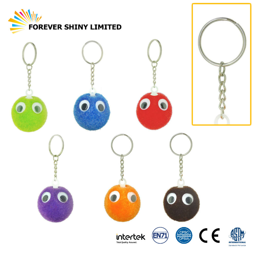 Promotional Gift Small Capsules Toys Fluffy Fuzzy Eye Ball Key Chain for Vending Machines