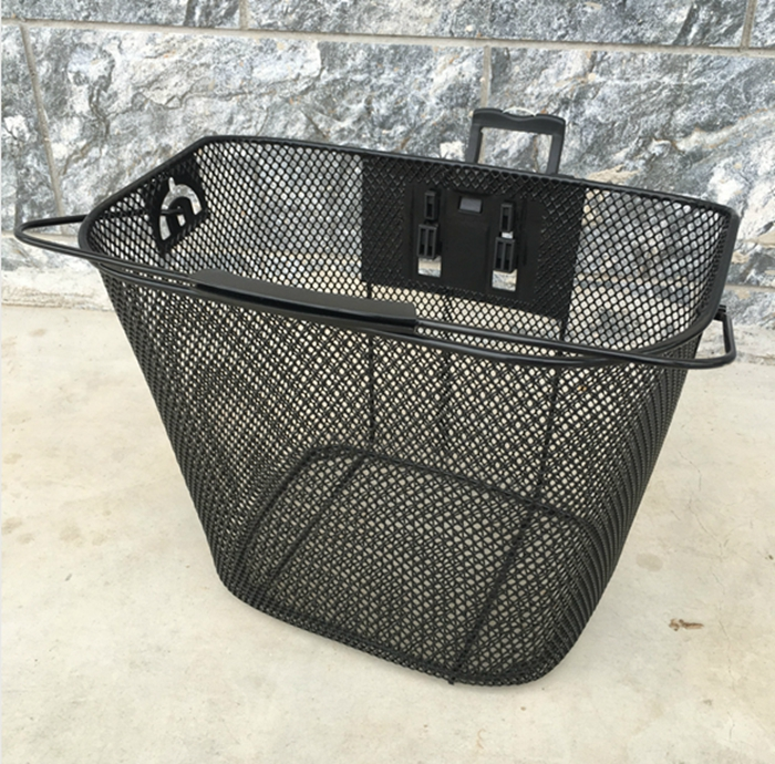 Wholesale Removable Black Steel Front Bicycle Basket With Folding Handle