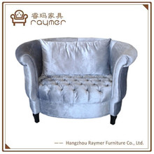 Hotel furnitrue velvet buttoned deep seat sofa for one person chesterfield sofa