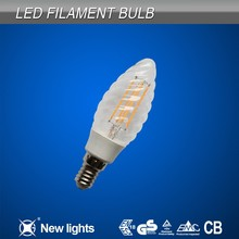 2W 4W Listed by CE ROHS Cob Filament Twisted Led Candle Bulb E14