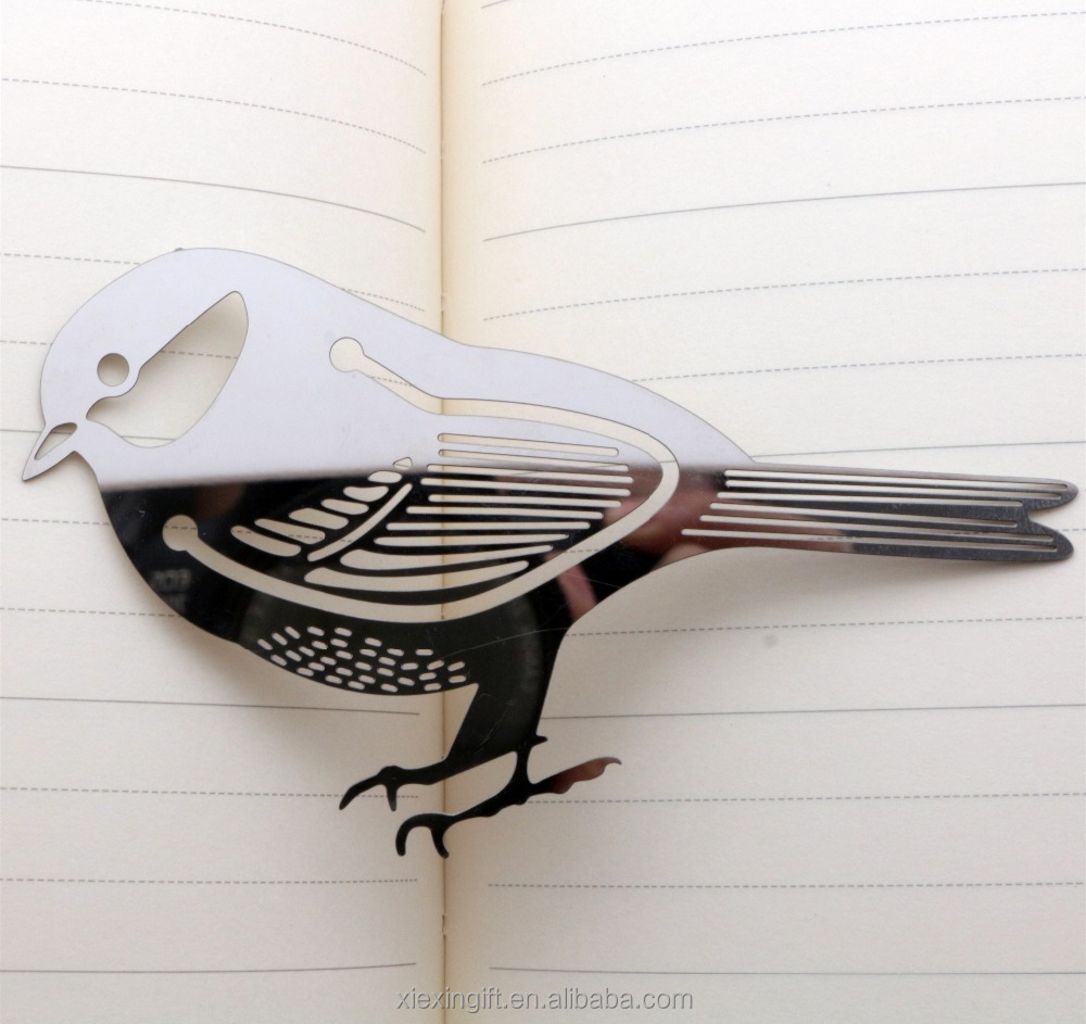 Custom etching metal bird bookmark for gift