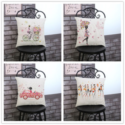 Hazy Abstract Cartoon Flower Butterfly Bicycle Fashion Girl Print Home Decorative Office Chair Seat Back Custom Cushion Cover