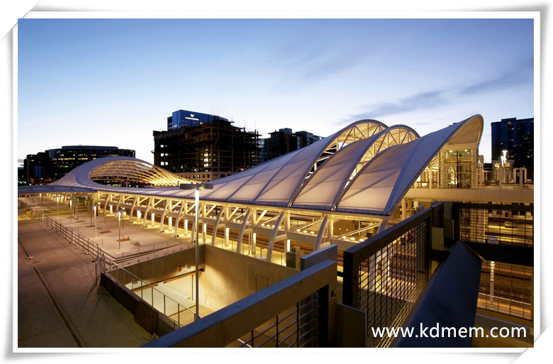 ETFE tensile membrane and steel fabric structure for railway station