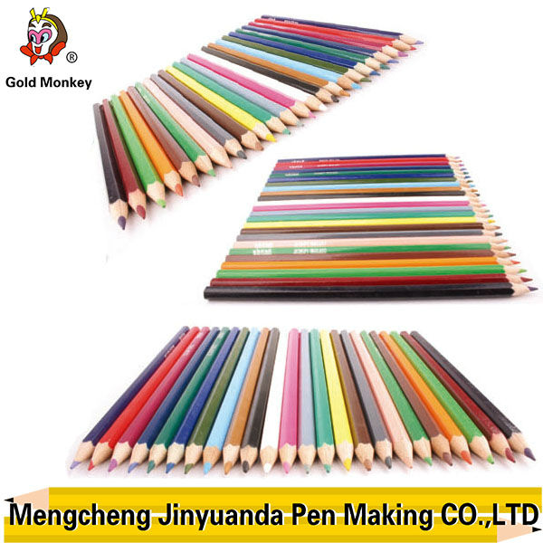 logo on the round, triangular, hexangular wooden 36 color pencil in tin