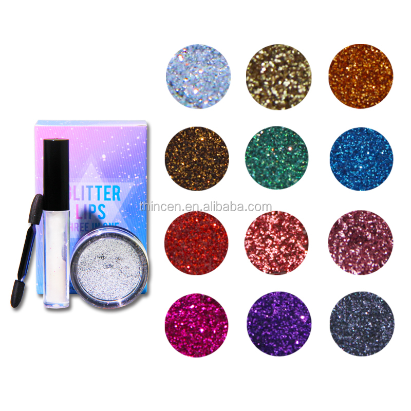 Private Label Cosmetics Glitter Lips 3 In 1 Makeup Kit Lip Gloss