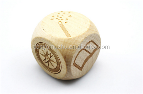 35mm 6 sides custom laser engraved wooden dice with round corner