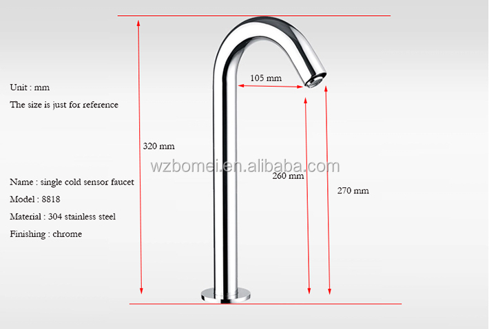 CE certification single cold touchless induction basin faucet