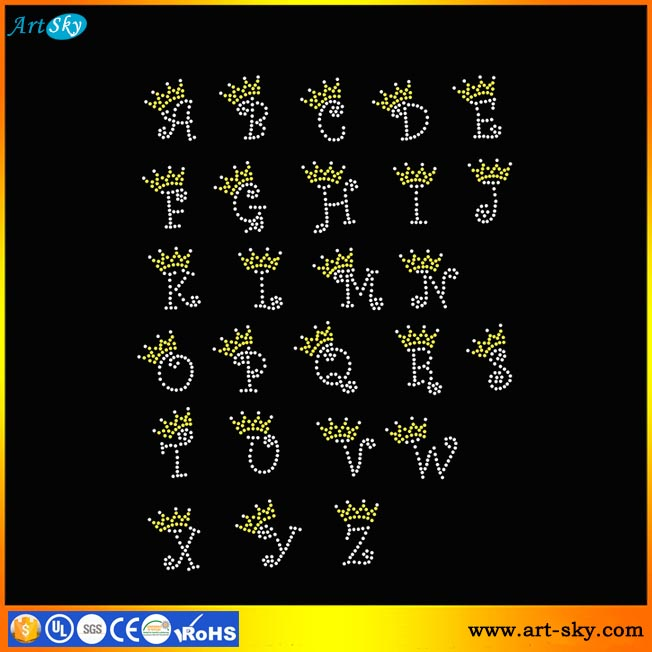 Artsky offer ODM hotfix rhinestone patches patterns Alphabet Letters Crown Tiara Font iron on transfer printing