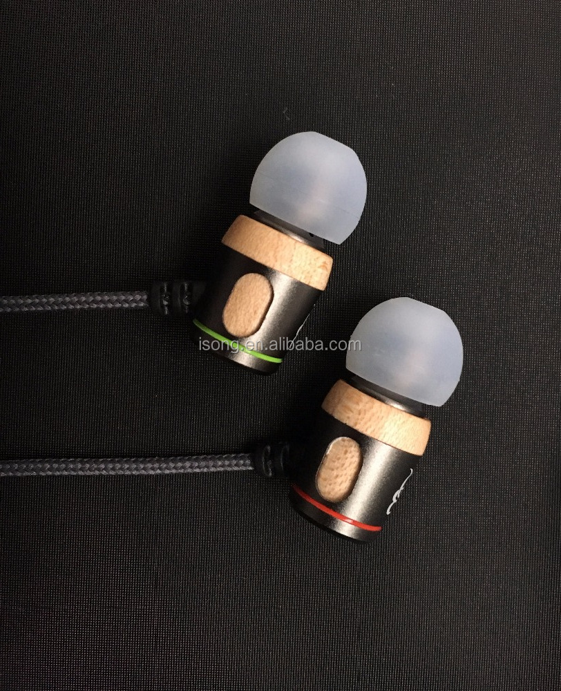 Wooden Metal 8-30Khz Stereo Hifi Wired Noise Cancelling Earphone With Microphone