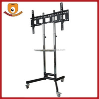 ST1800 Silver movealbe High Quality Factory Selling Trolley tv stand with DVD Tray and four Wheelsdisplay tv stand