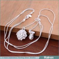 trust supplier provide cheap silver plated necklace with flower charm pendant jewelry