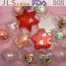 round star egg heart flower shape Christmas decorations clear plastic balls