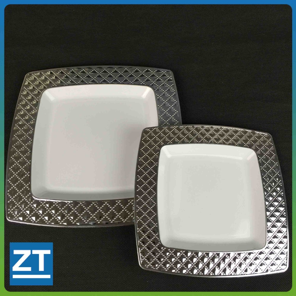 Square Plastic Silver Plated Plates