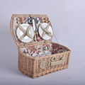 Handmade Cheap 4 persons rectangular willow weaving picnic basket for sale