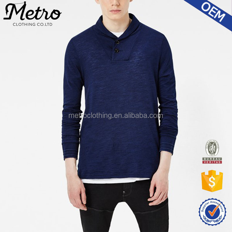 2017 New Design Men's Casual Style Long Sleeve Polo Shirt