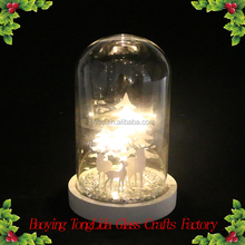 Clear led glass dome cloche with christmas tree for christmas ornaments