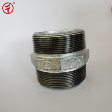 NPT Standard galvanized drain gi hex steel plain barrel threaded equal male nipple socket connector pipe fitting size