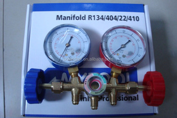 AC Brass Manifold Guage Pressure Guage for R134a R22 R410a With charging hose