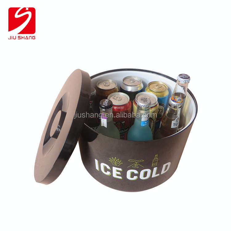 round branded logo clear plastic ice buckets with lids