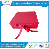 wholesale dongguan bespoke red paper with gross grain ribbon closure knock down folding box