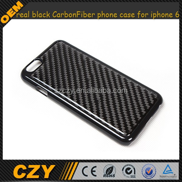 Slim plastic Cover with real black Carbon Fiber phone case for iphone 6