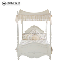 European style solid wood kids bed wooden beds for girls B0005