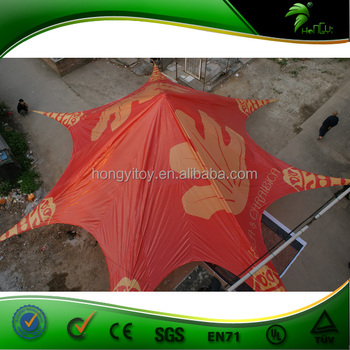 Hot sale 12m red logo printing outdoor event star shape shade tent with high quality