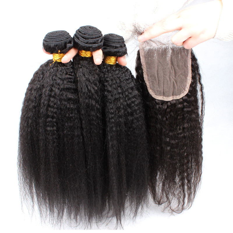Brazilian Kinky Straight Virgin Weaves Coarse Yaki Straight Lace Closure With Bundles 6A Brazilian Virgin Hair With Closure