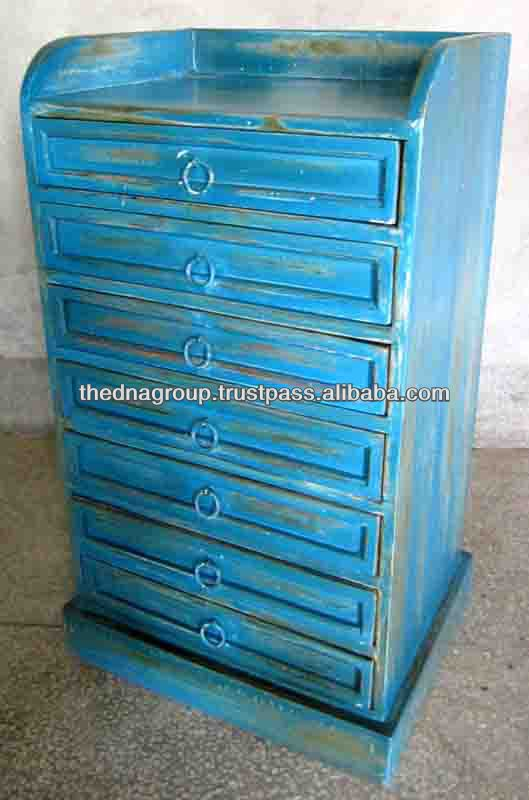 Antique Blue Table With Multiple Drawers
