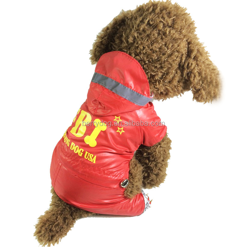 Berry Hot Sale Reflective USA FBI Working Dog Waterproof Raincoat