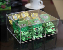 6 Grids Clear Acrylic Tea Bag Organizer Box with Lid, Transparent Acrylic Compartment Storage Box
