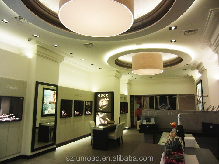 Top quality switzerland watches shop decoration designs display furnitures in shopping mall