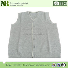 Knitted V neck button cardigan sleeveless mens sweater vest