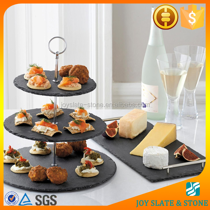 New design natural slate serving tray/ black cake plate/ wedding cake stand