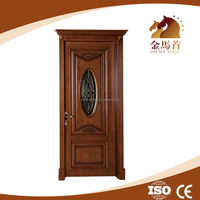 2016 latest natural wood solid wood panel door design with glass insert