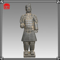 87cm High imitation terracotta warriors Good imitation Soldier Black pottery