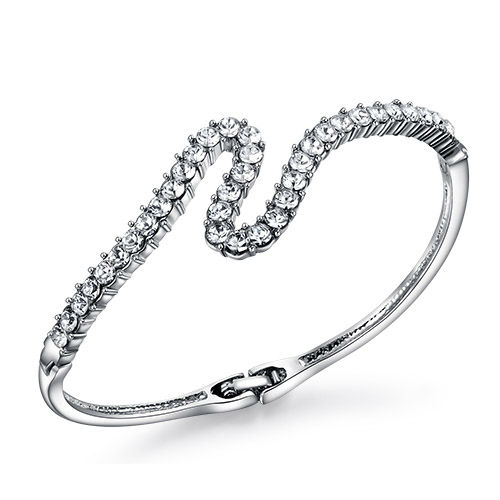 Crystal gift stainless steel bangle with silver plated