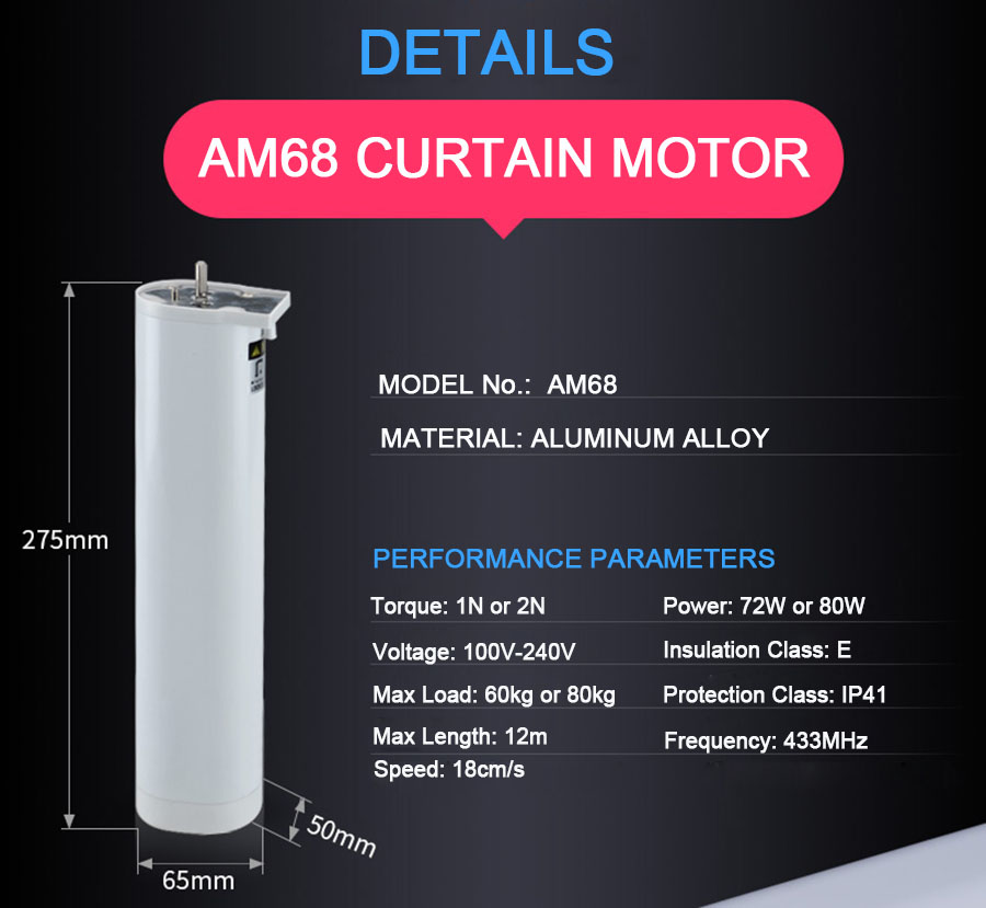 Motorized Wireless Curtain System Aluminum Alloy Track