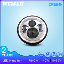 "Smart design and high quality high low beam 40W 7"" led headlight with DRL function"