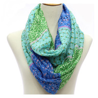 2015 New Infinity Loop Scarf With Flowers Pattern