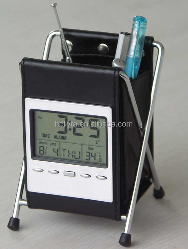 Hot sale pu leather pen case with calendar and clock