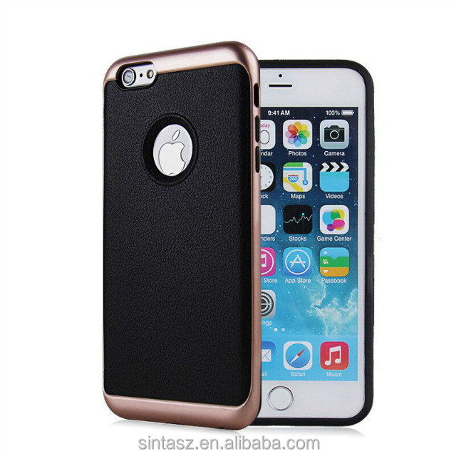 Luxury plating PC case for iphone 7 plus , new design nice touch feeling PU leather grain tpu mobile case for iphone 7 case