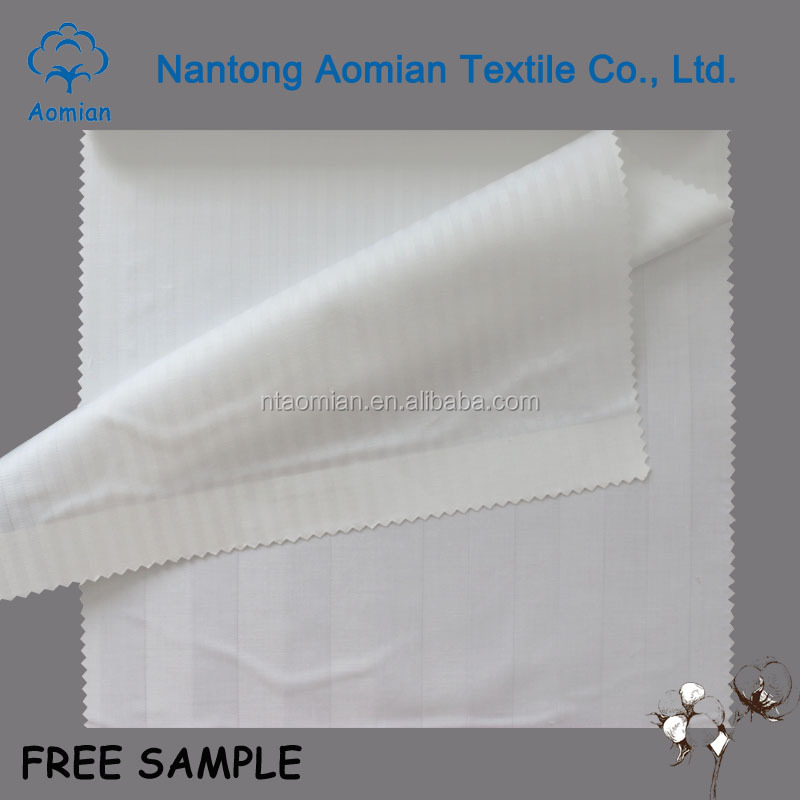 t/c fabrics for making bed sheets white 100% cotton stripe stain