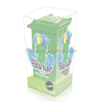 OEM Plastic Mini Desktop wheelie bin pen holder