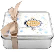 Fancy aluminum square gift tin boxes with lids and ribbon
